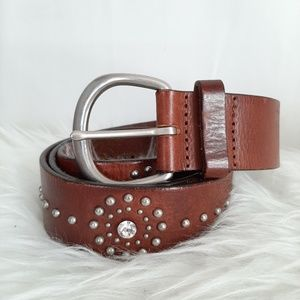 Express Diamond Studs Brown Leather Belt Sz M